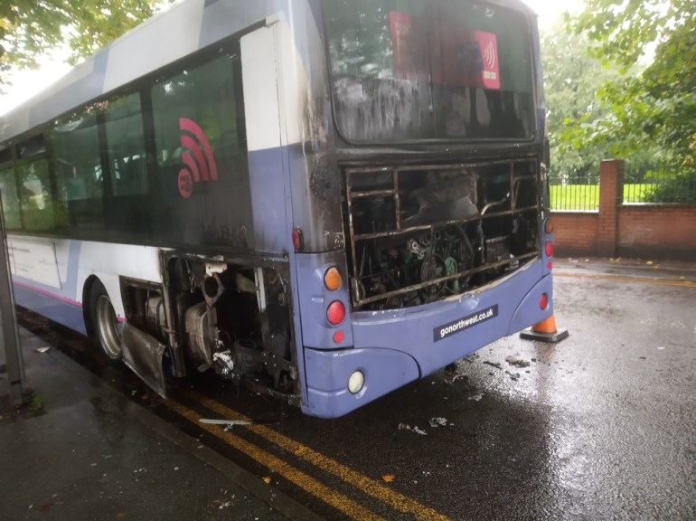 Bus catches fire in Salford