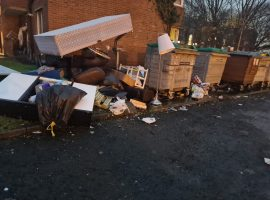 Rubbish build up in Eccles. Permission to use from Paula Kane's Facebook.