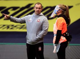 Salford Red Devils coach Ian Watson during the Super League match at the Halliwell Jones Stadium, Warrington.