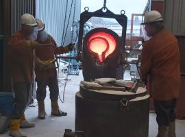 Sculpture being filled with molten bronze.  CC: Emma Rodgers