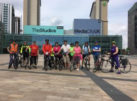 A group of Pedal Away cyclists in Media City (picture taken before covid restrictions) - Image Credit: Rob Salt