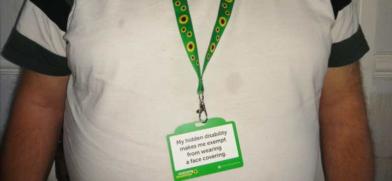 Hidden Disabilities sunflower badge displayed.-Photo Credit: Clare Sellers.