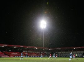 Flurries of snow fell at the Peninsula Stadium as temperatures approached freezing (Image: Salford City FC)
