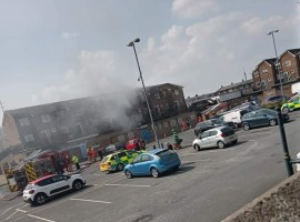 Firefighters tackle blaze at Little Hulton Shopping Precinct