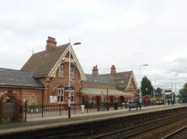 Irlam railway station. © Copyright Robert Eva and licensed for reuse under this Creative Commons Licence.