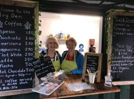 Cleavley Community Forest Garden cafe's Wednesday volunteers, Christine and Mary, enjoying their time working at the café. Permission to use from Ian Bocock