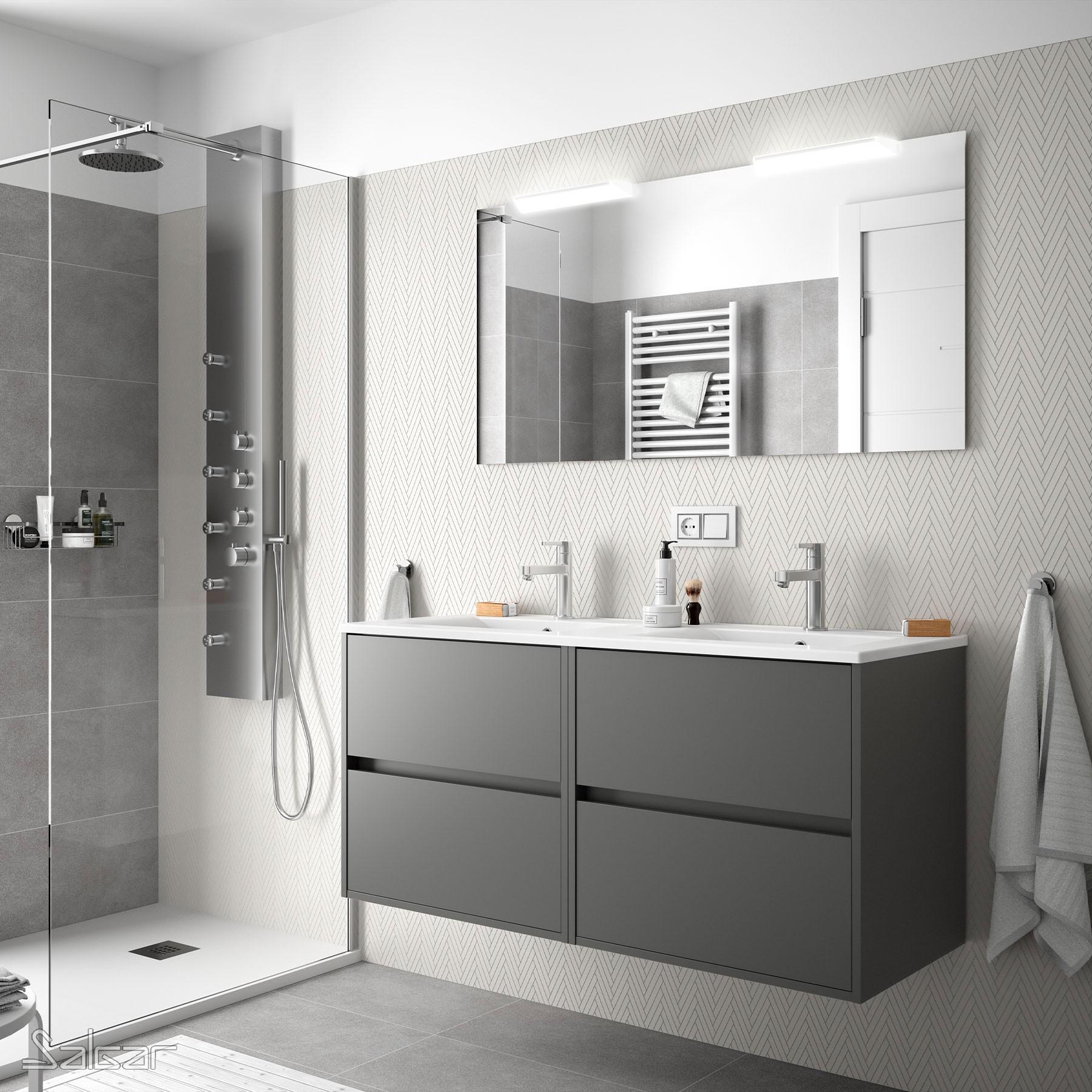 salle de bain noja 1200 gris mat vasque miroir applique