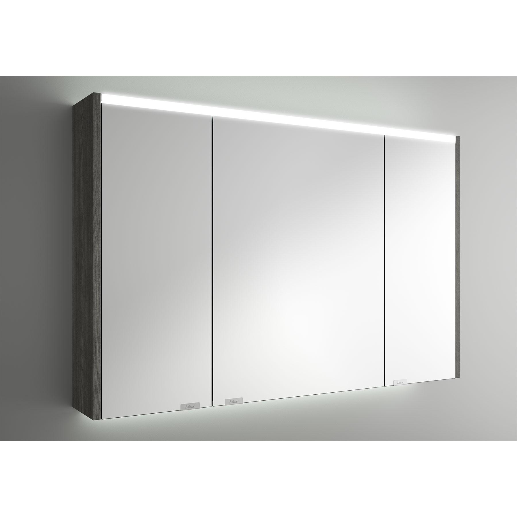 armoire alliance 1000 alsace 3 portes miroir double avec interrupteur et prise et lumiere led superieur inferieur ip44 25 5w 1030 x 666 x 150 mm