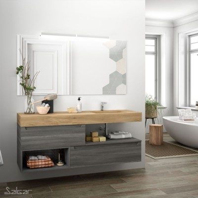 plan de toilette compakt 46 de 1401 a 1600 mm avec une grande vasque integree chene africain