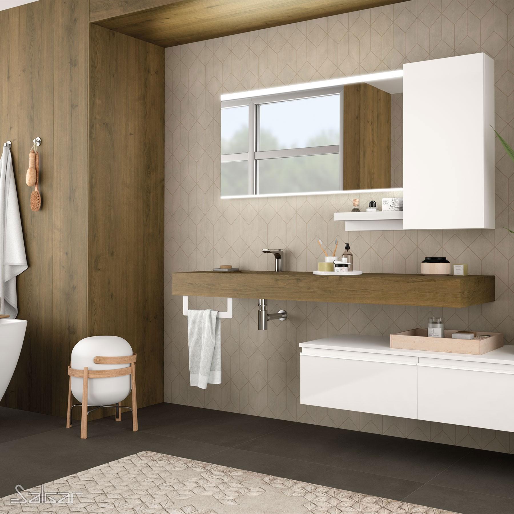 Plan De Toilette Compakt 46 Chene Havana De 1410 A 1600 Mm Avec Vasque Integree 1410 1600 X 460 X120 Mm