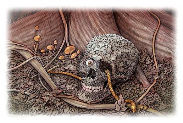 Skull of leaves: Class demo art.
