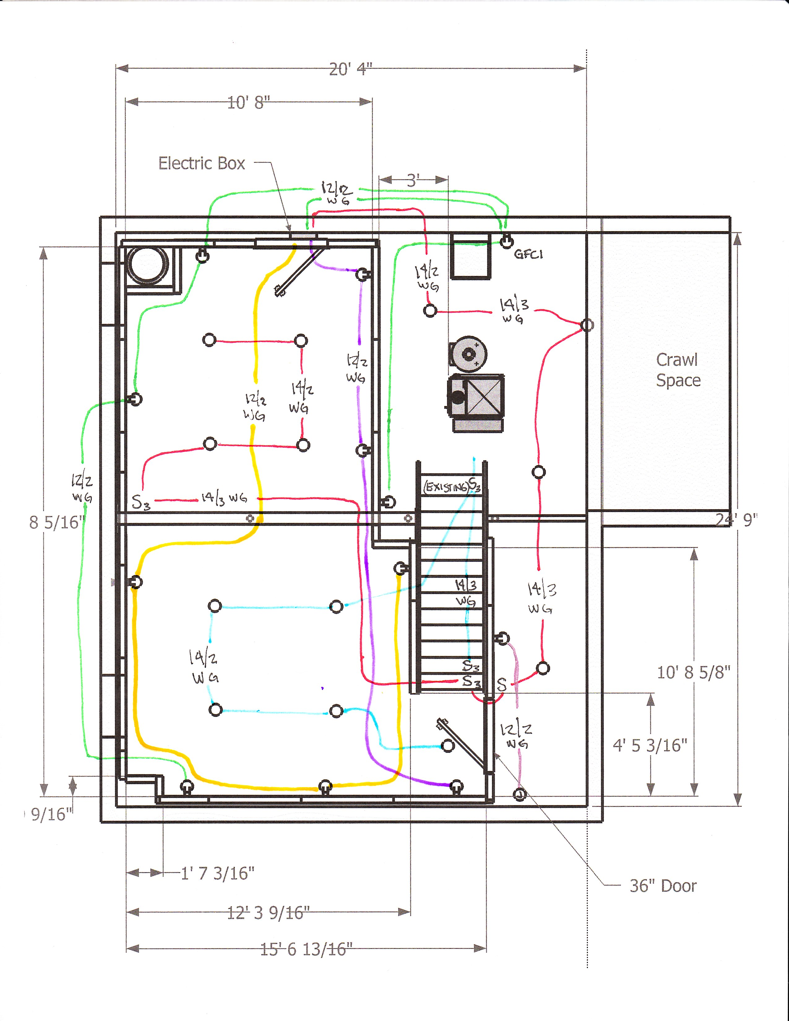 new finished basement wiring diagram century ac motor 230 volts my plan doityourself community forums