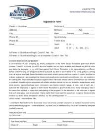 North Sevier Recreation Registration Form