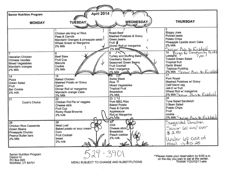 April 2014 Senior Calendar