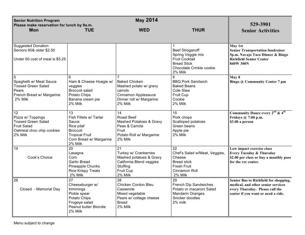 May 2014 menu w notes