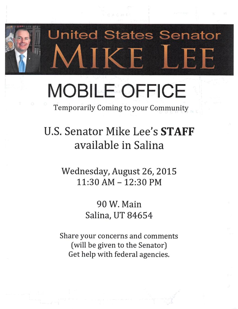 United States Senator Mike Lee in Salina Utah August 26th, 2015