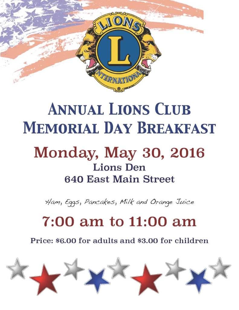 Lions memorial breakfast