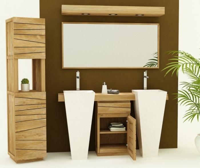meuble de salle de bain salerne l160 cm en teck