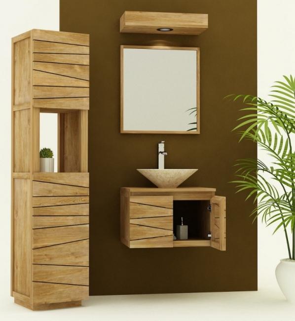meuble de salle de bain teck a suspendre carrar l60 cm