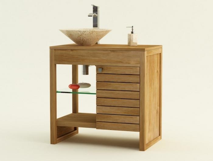 meuble de salle de bain udine l80 cm en teck
