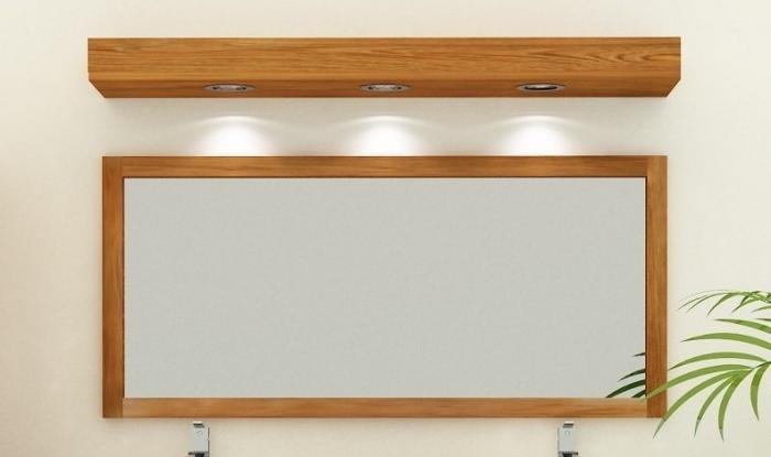 Achat Miroir De Salle De Bain 140 Cm De Long En Teck Massif Systeme De Fixation Integre Au Dos