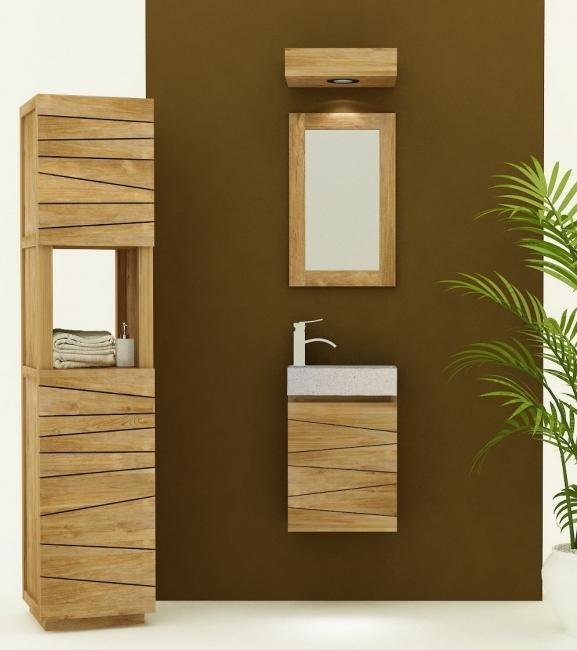 petit meuble de salle de bain en teck vesta l40 cm vasque blanche sentani