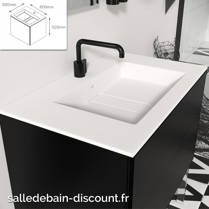 Cosmic Meuble Lavabo Noir Mat 60x50x52cm Vasque Moulee En Bathsto