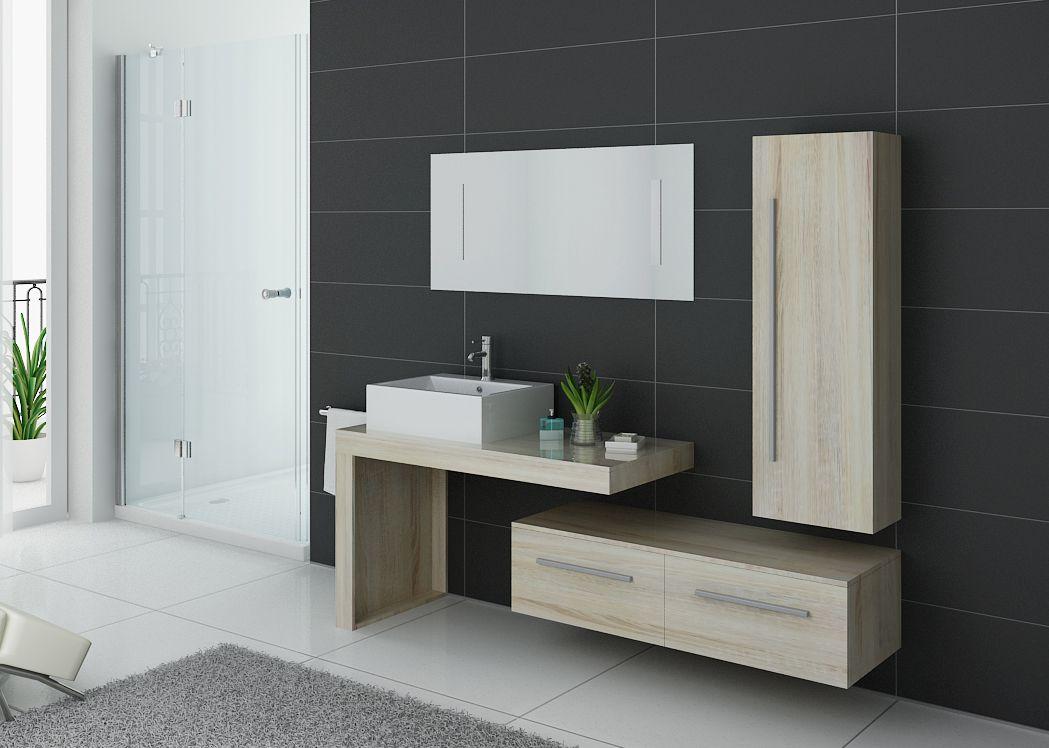Meuble de salle de bain couleur bois naturel meuble de salle de bain tendance DIS9250SC