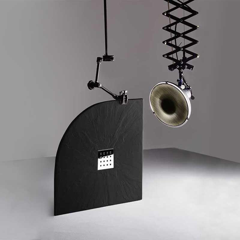 receveur en gel coat pizarra 1 4 de rond noir 80x80