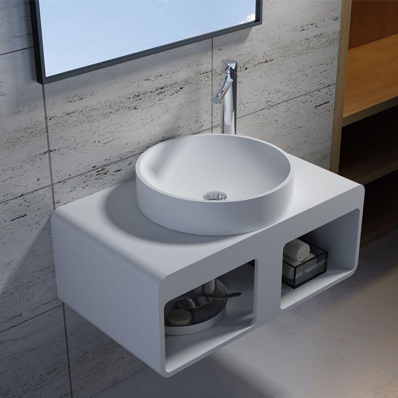 Plan De Toilette Suspendu Avec Rangements Et Vasque Ronde Sdk56 Sdv40