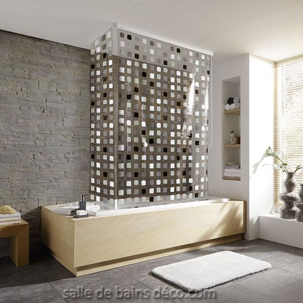 mosaique grise rideau caisson de baignoire