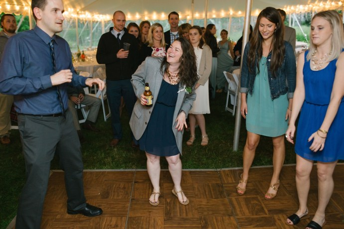 Wedding guest enjoys the brews and dancing