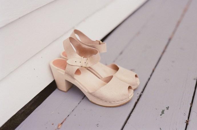 Bride's shoes- powder, open-toed heels