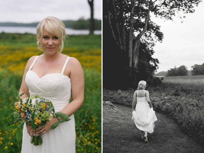 Gorgeous bride with bangs holds wildflowers and goes barefoot