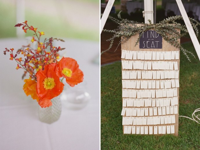 Wildflower wedding table centerpieces and seating chart