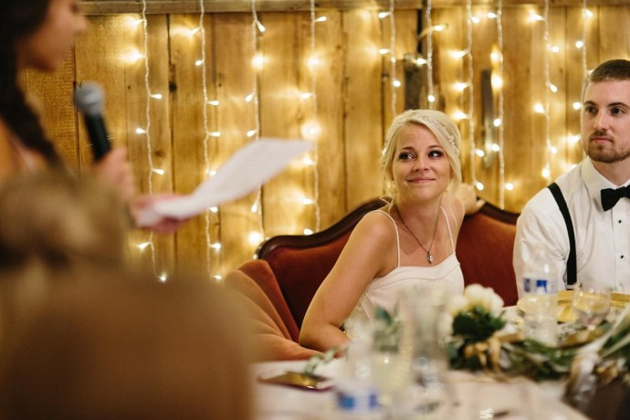 Bride tears up as maid of honor gives speech