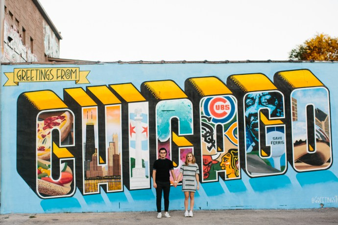 """""""Greeting from Chicago"""" engagement shoot photos"""
