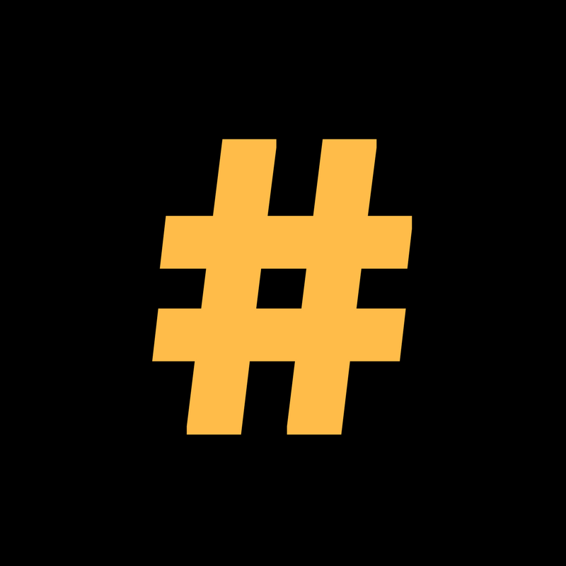 black square with a yellow hashtag symbol in the middle