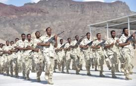 قوة عسكرية تتدرب في معسكرر راس عباس تمهيداً لنقلها صوب بيحان