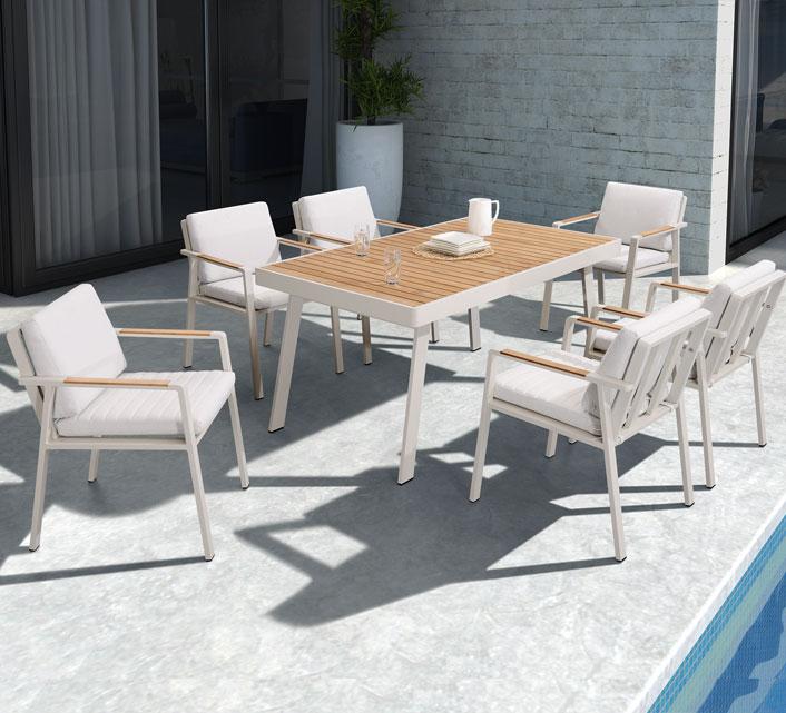 salon de jardin aluminium et bois teck 6 personnes table 160x90 nofi beige