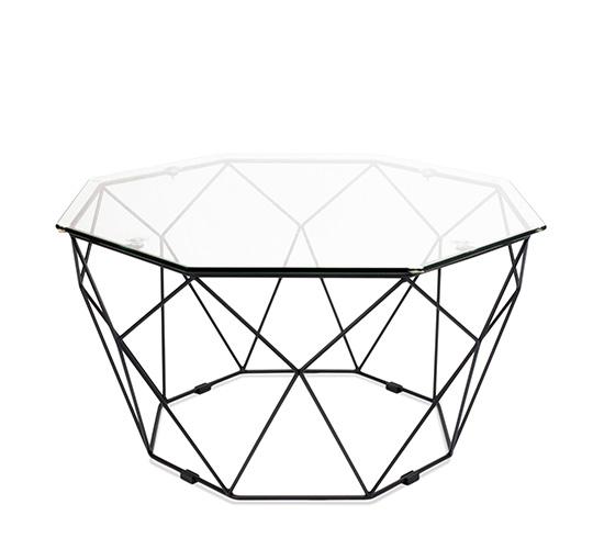 table basse de jardin geometrique metal filaire noir