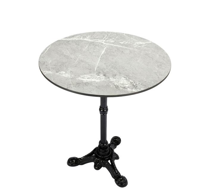 table bistrot ronde 60cm plateau hpl motif marbre gris