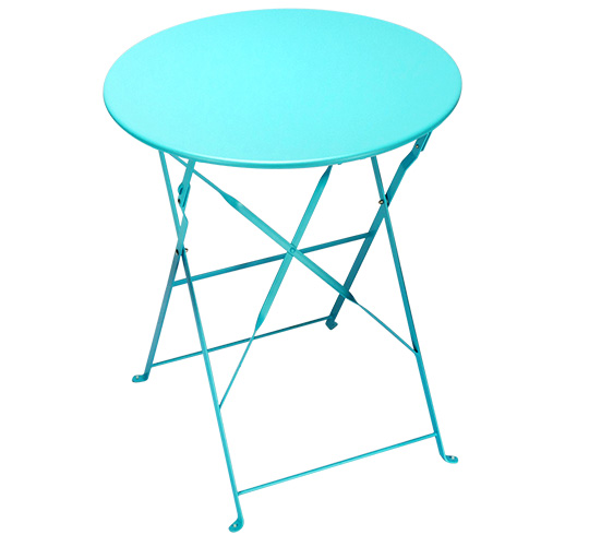 table de jardin pliante ronde d60cm bleu turquoise brillant