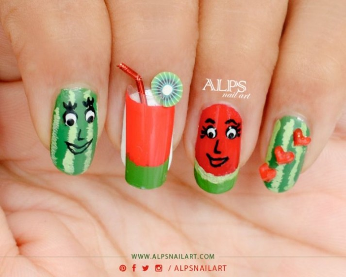 watermelon-nail-art-design