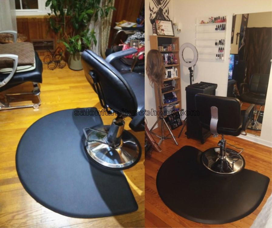 Barber Chair Black Salon Floor Mats Semi Circle Anti Fatigue