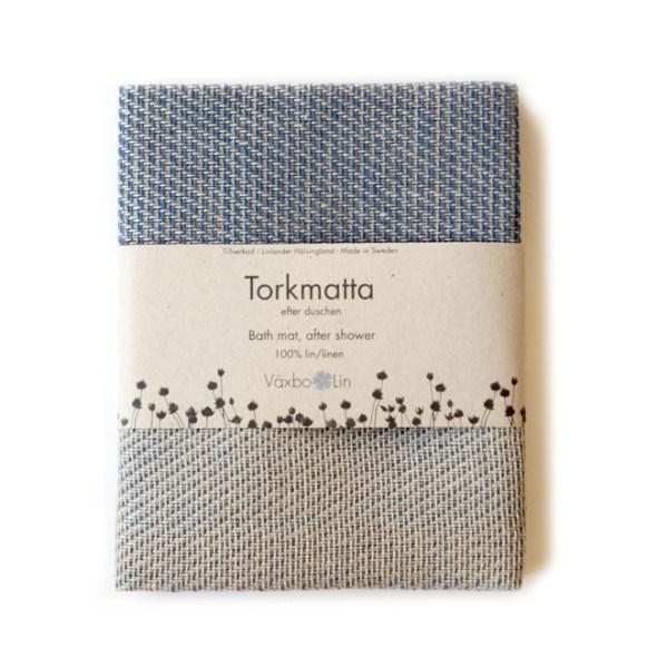 Torkmatta Badematte blau/ natur Växbo Lin
