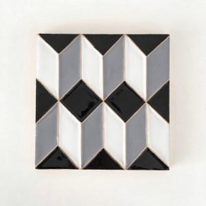 Casa Cubista portugiesische Keramik-Fliesen Azulejos schwarz-weiss