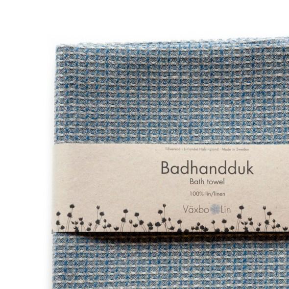 Växbo Lin Leinen-Badetuch Bubbel blau