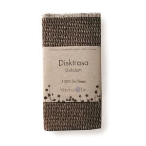 Spültuch und Putztuch Disktrasa in mocca-braun aus Bio-Leinen von Växbo Lin
