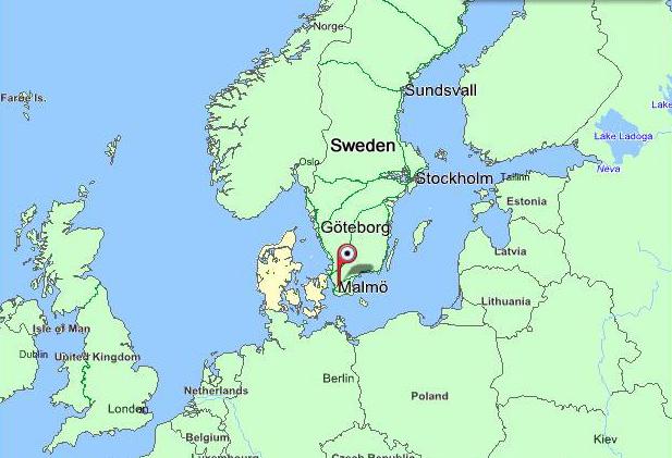 Skräddarsydd karta: Malmö Lomma Lund Sverige